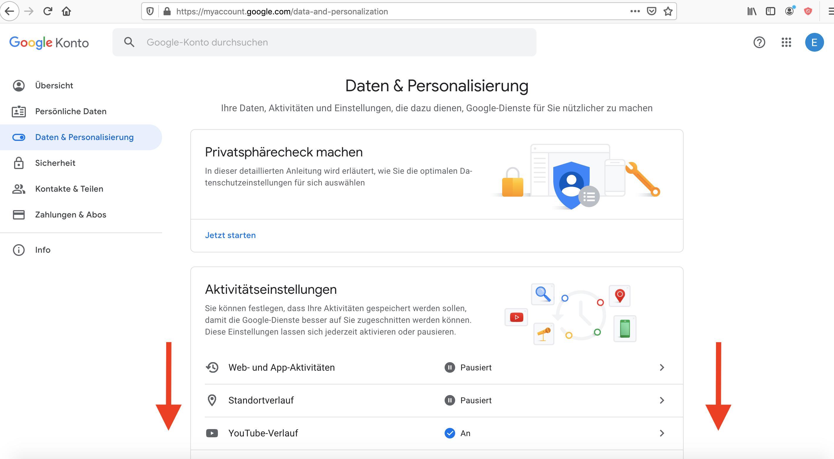 Google Konto Einstellung Daten und Personalisierung