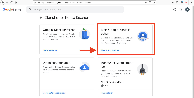 Google Konto löschen Einstellung
