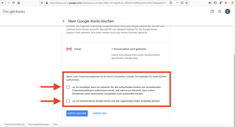 Google Konto löschen Antleitung