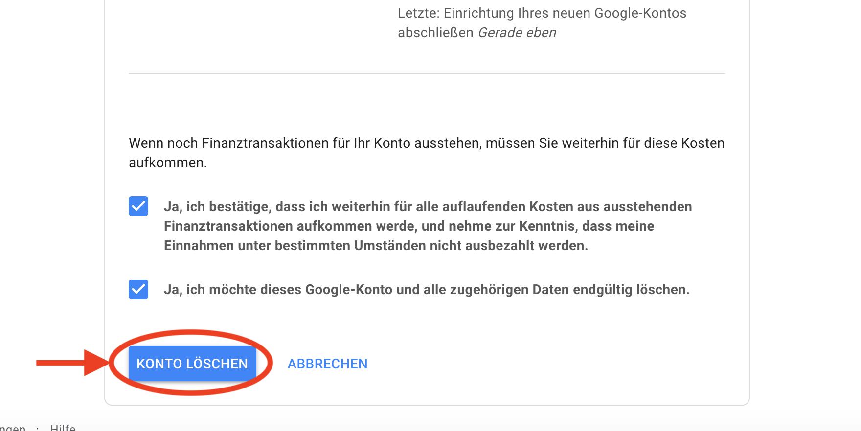 Google Konto löschen letzter Schritt