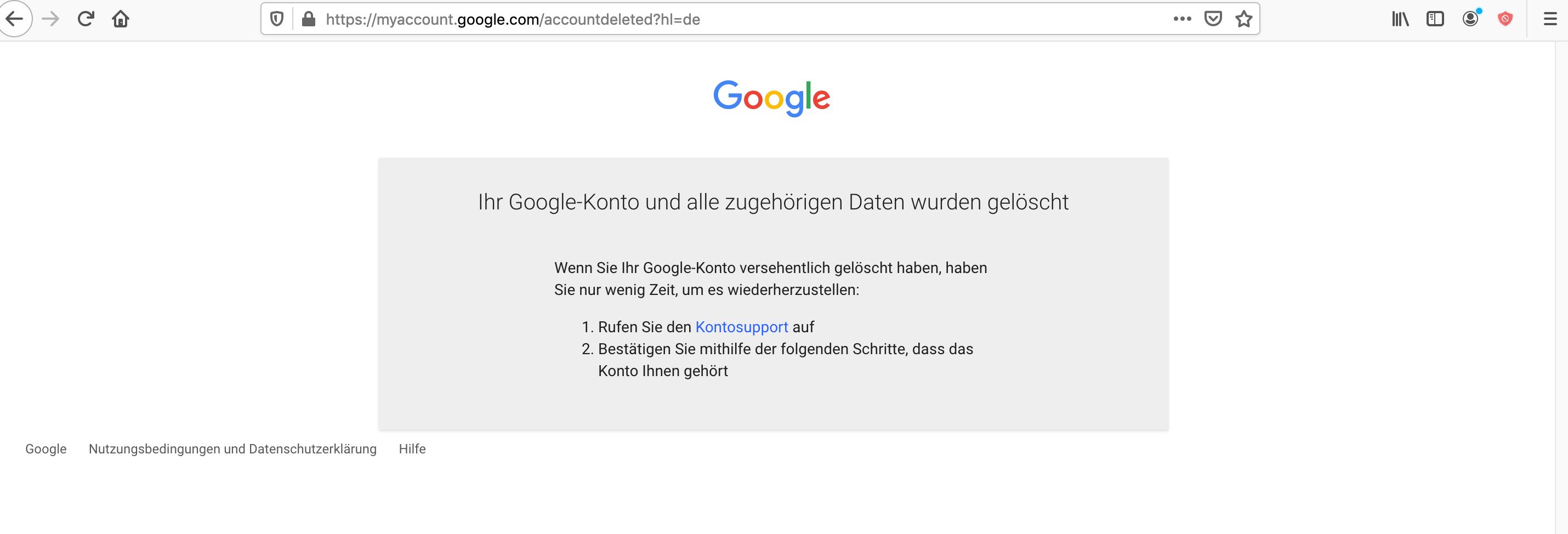 Bestätigung löschen Google Konto