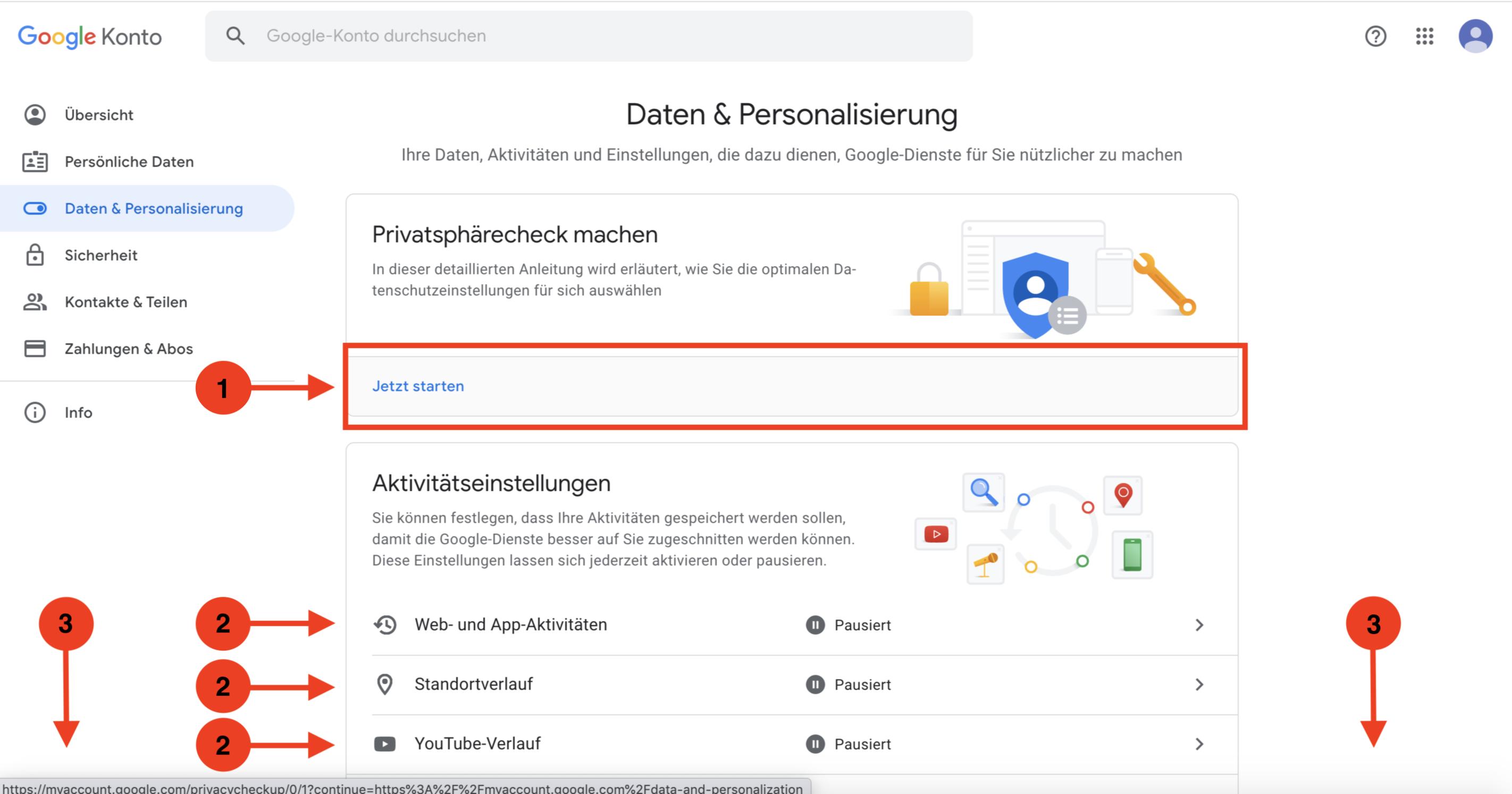 Datensicherheit Google