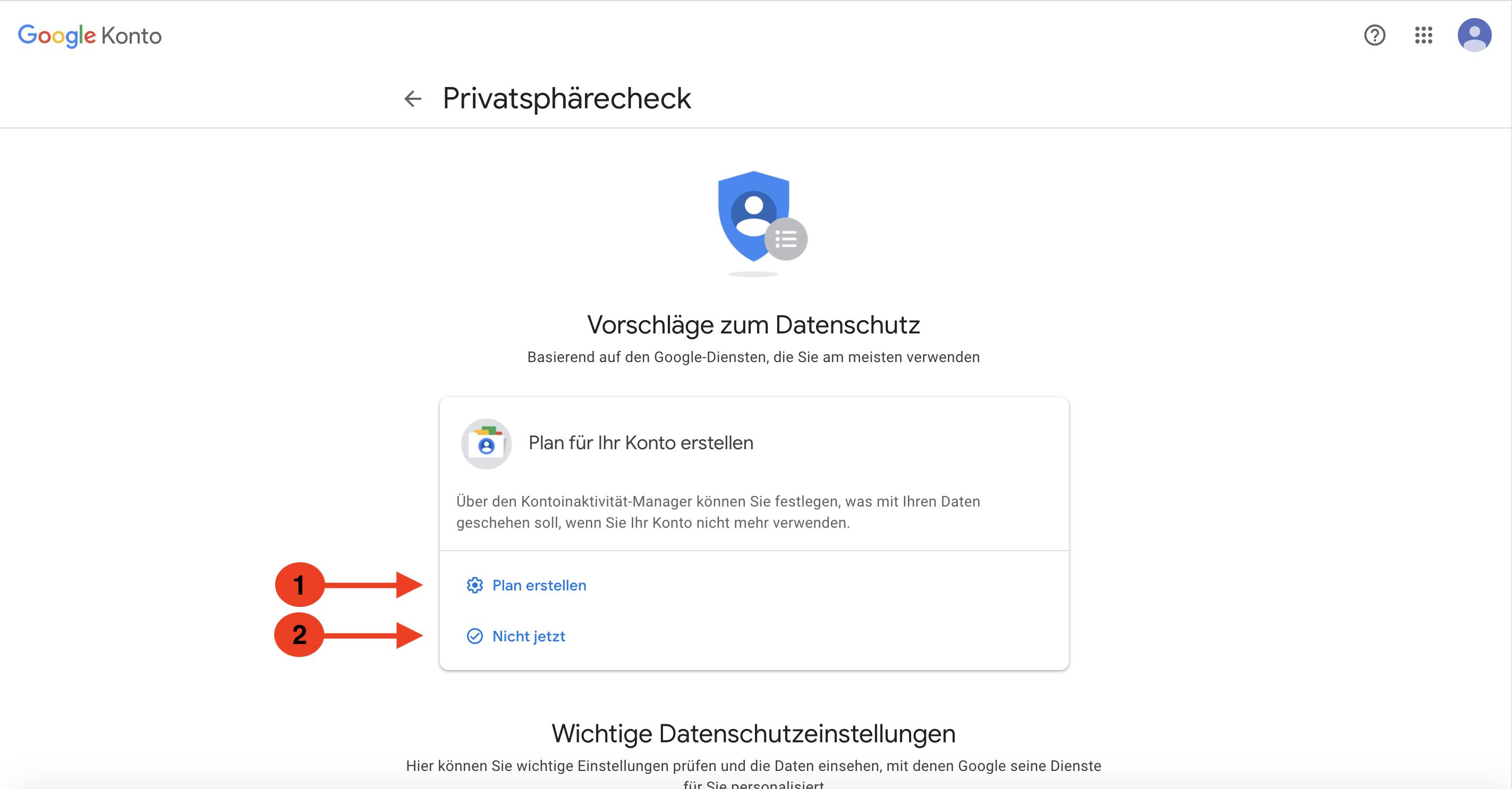 Google Konto Vorschläge Datenschutz