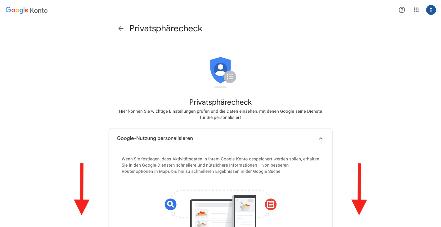 Google Konto Privatsphärecheck