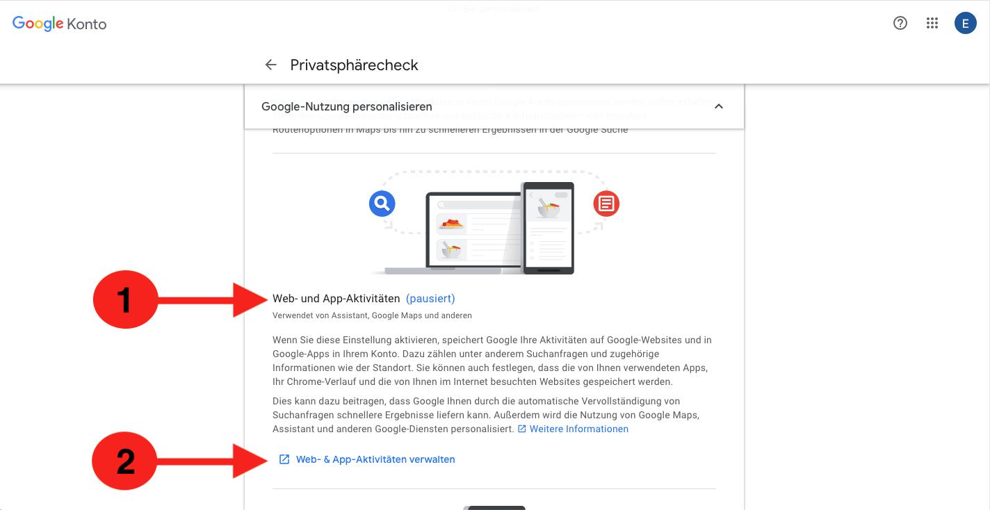 Google Web und Appaktivitäten deaktivieren