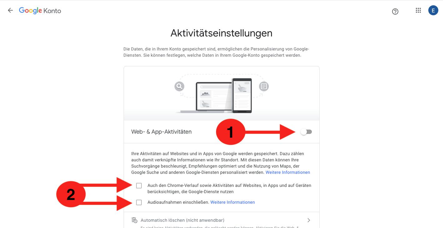 Aktivitätseinstellung Google