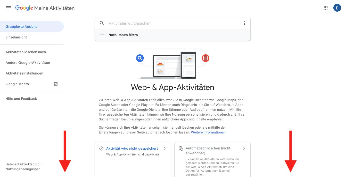 Web und App-Aktivitäten Google prüfen