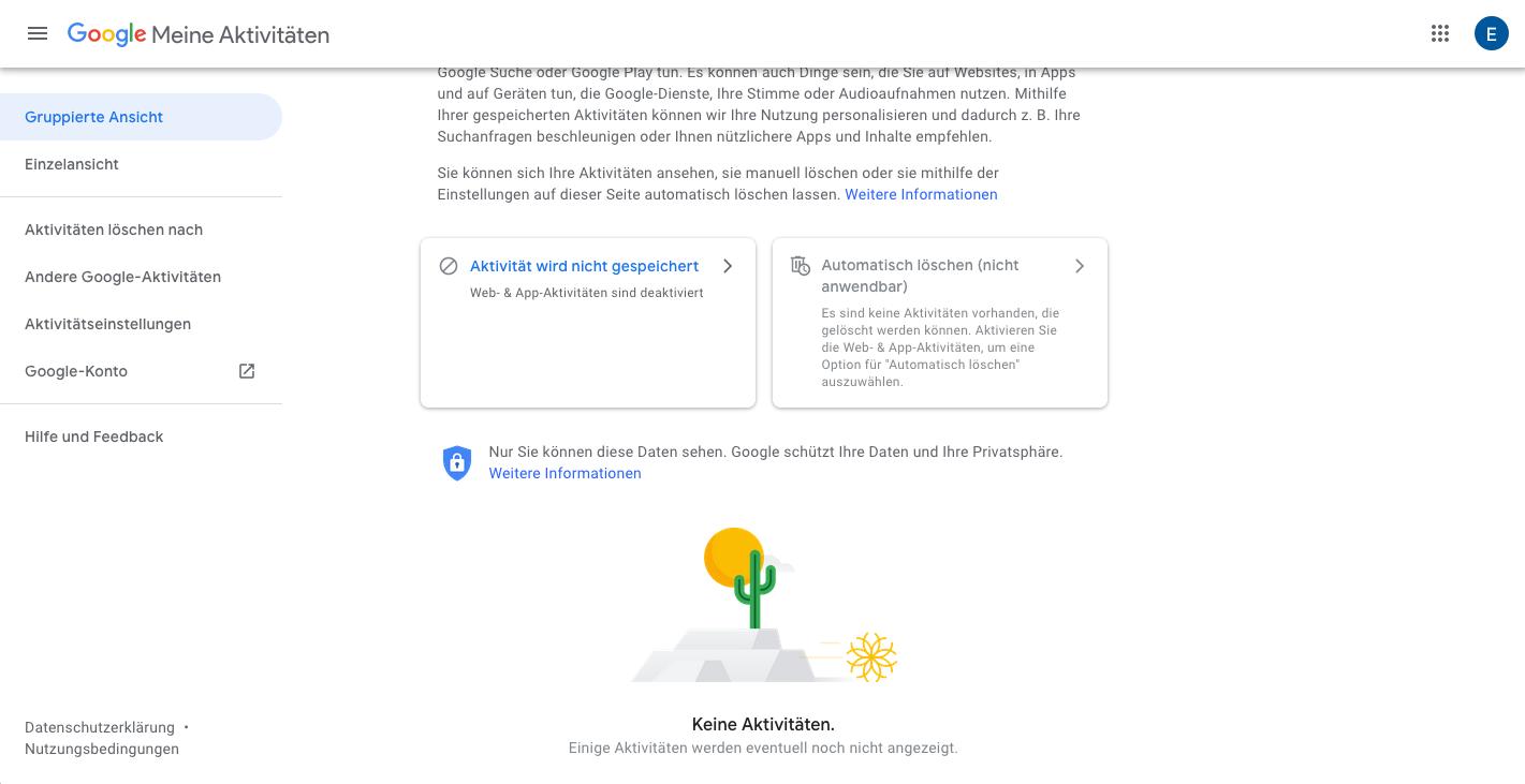 Google Keine Aktivitäten gepseichert