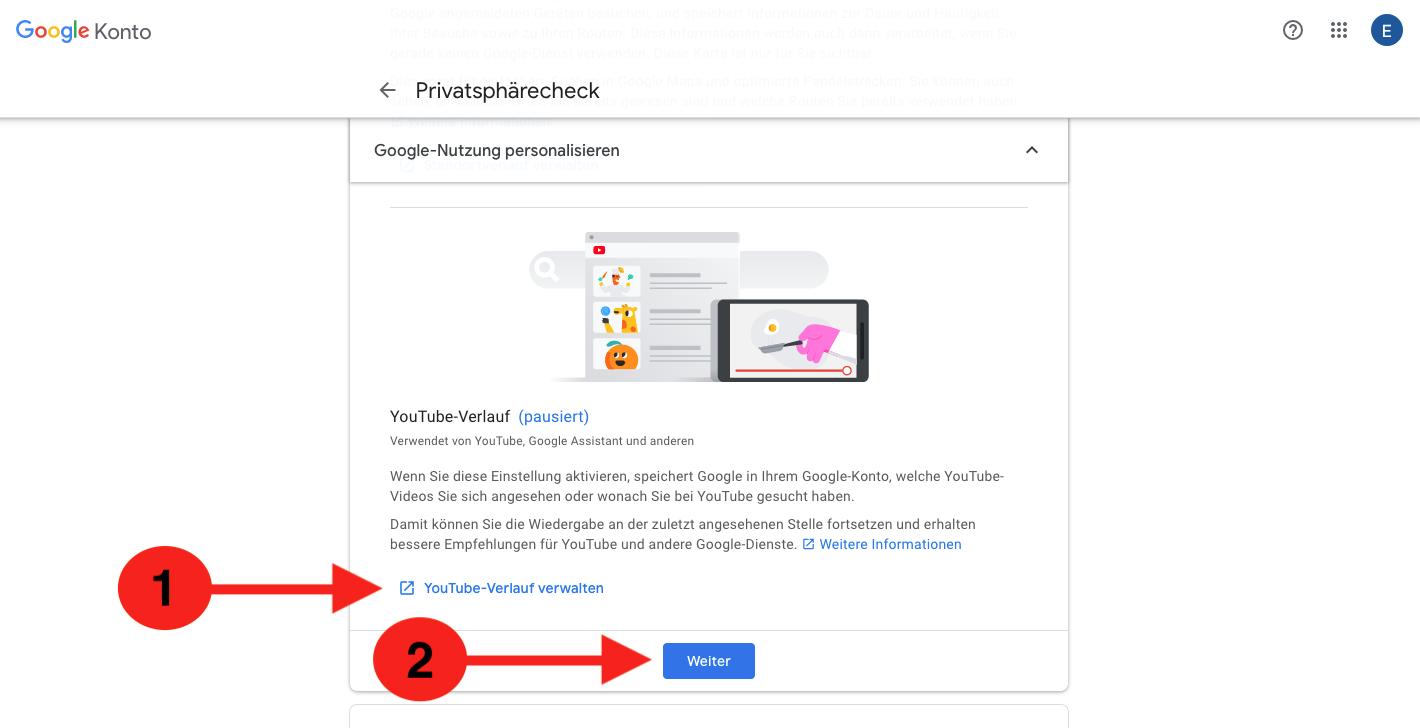 YouTube Verlauf Google pausieren