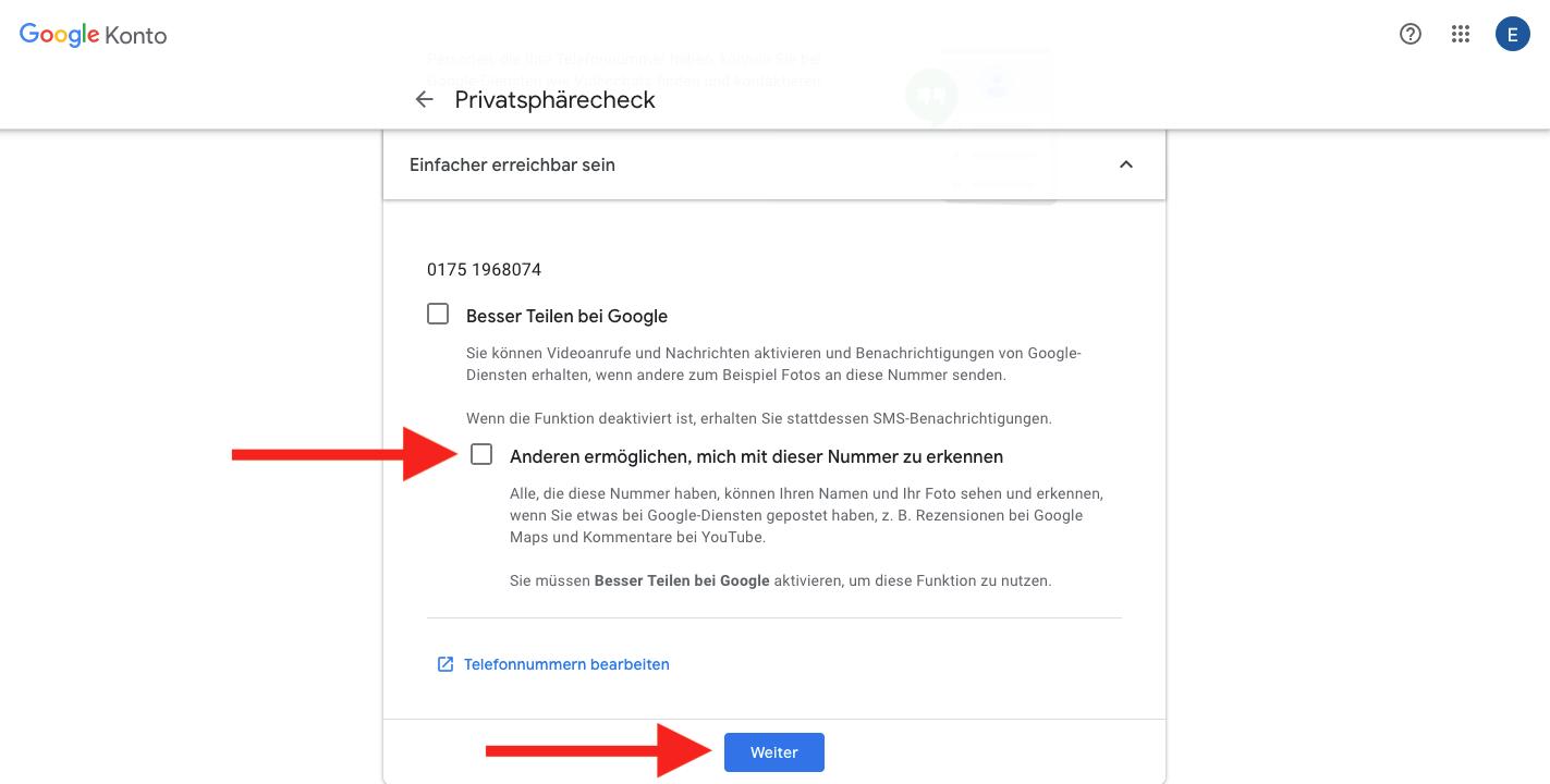 Google Chekc Privatssphäre Telefonnummer