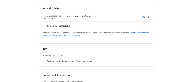 Kotaktdaten öffentlich Einstellung Google Konto