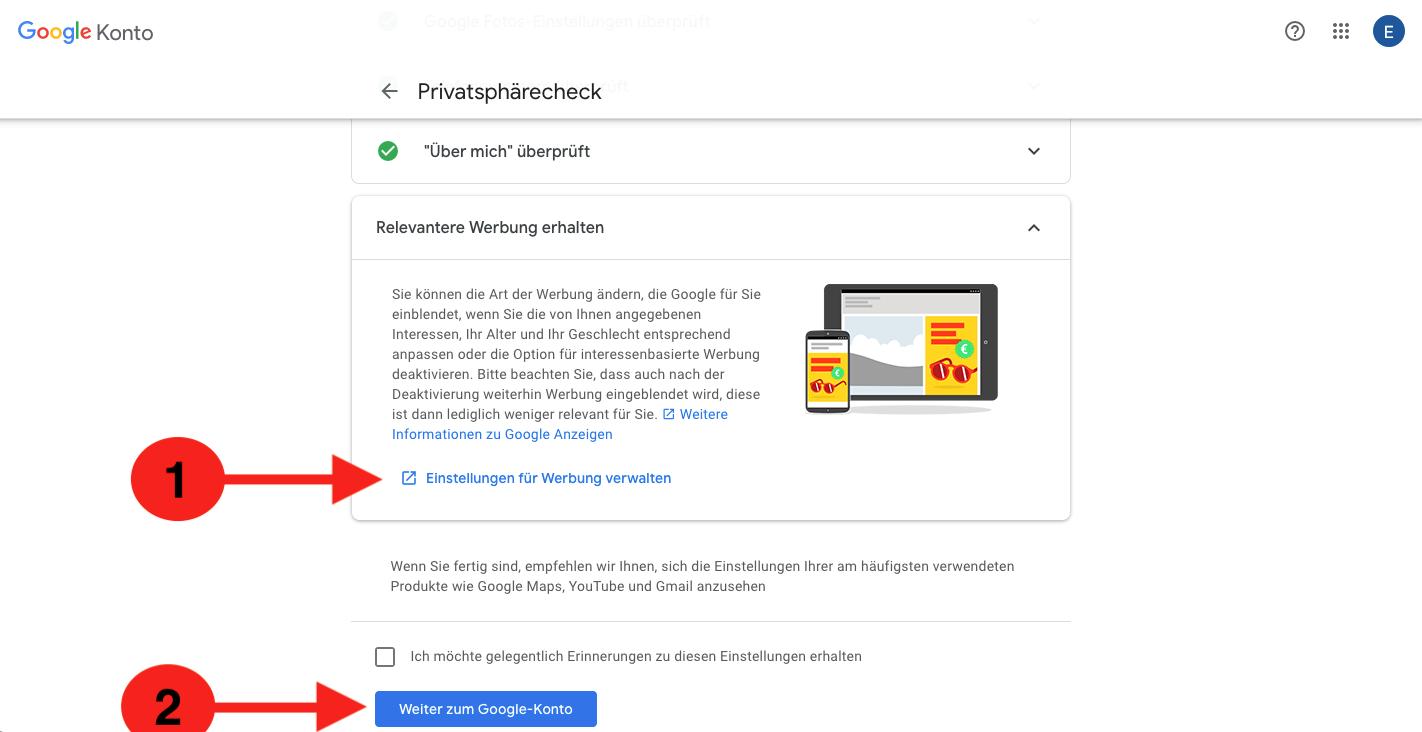 Personalisierte Werbung Google entfernen