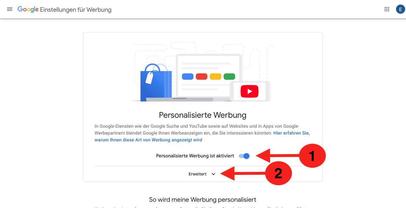 Personalisierte Werbung google abstellen