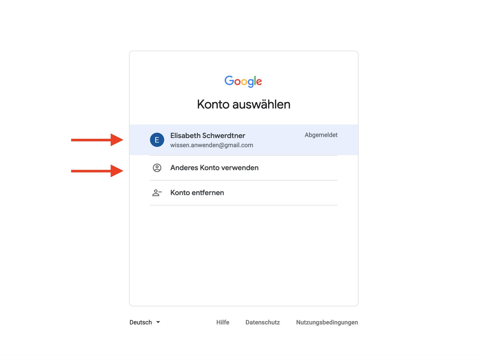 Anmelden Google Konto