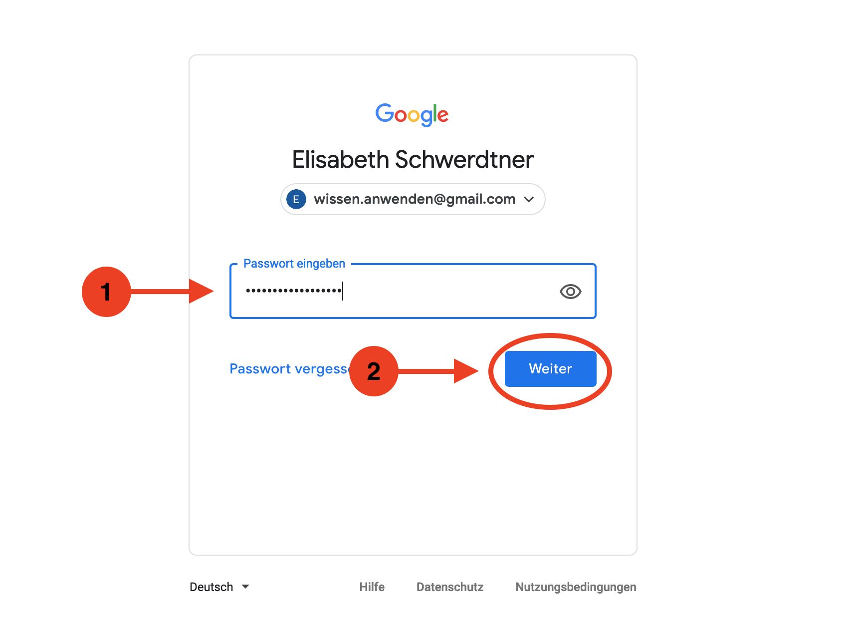 Google Konto anmelden Passwort eingeben