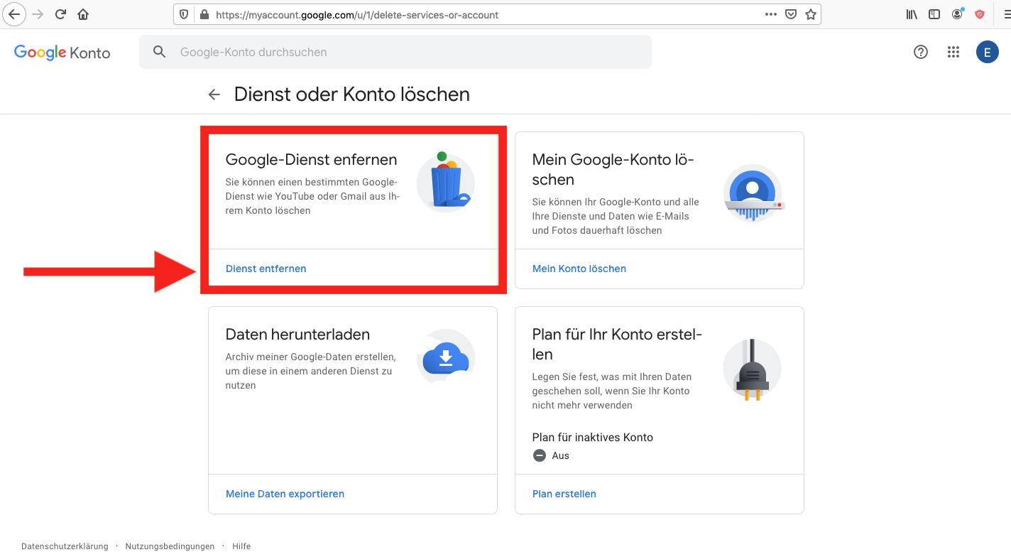 Google Einstellungen Dienste löschen