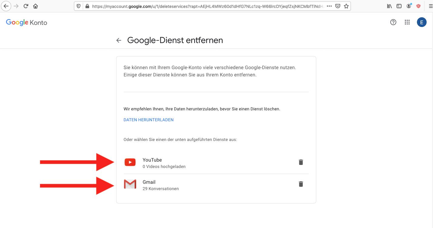 Einzelne Dienste und Daten Google löschen