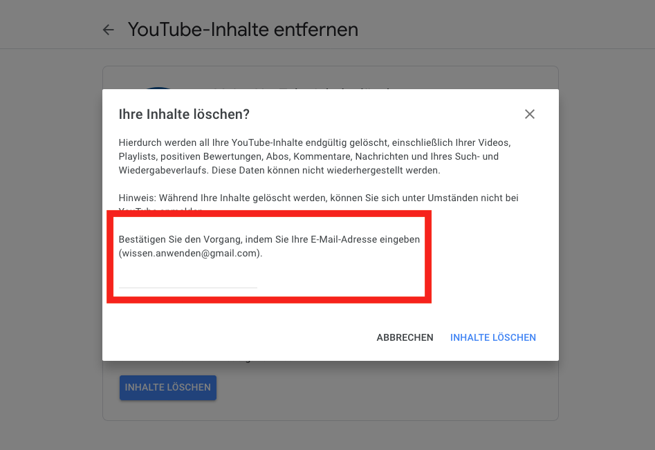 Google Dienst entfernen Bestätigung