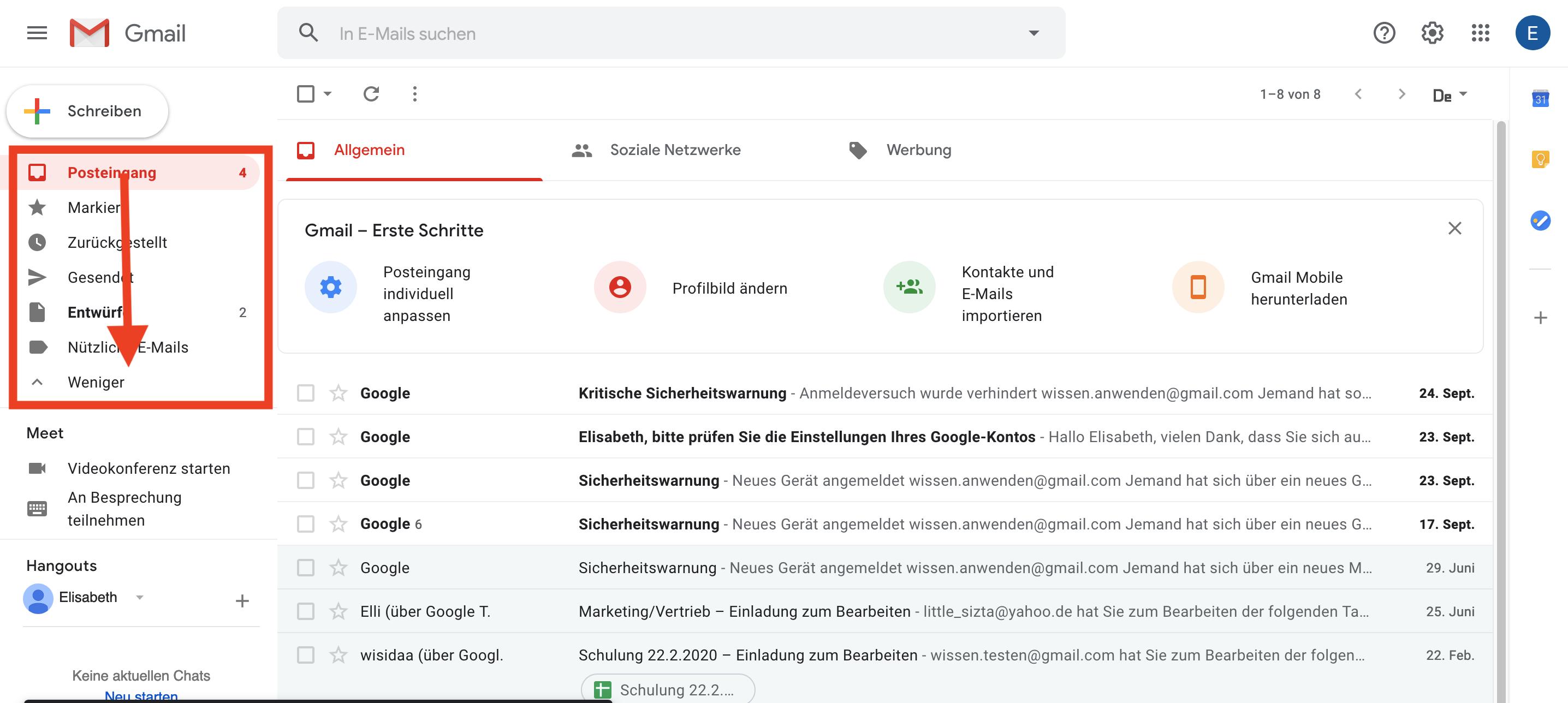 Gmail Ordner Label hinzufügen auswahl menu links