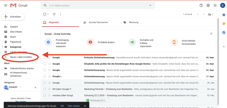 Gmail Auswahl neues Label hinzufügen links