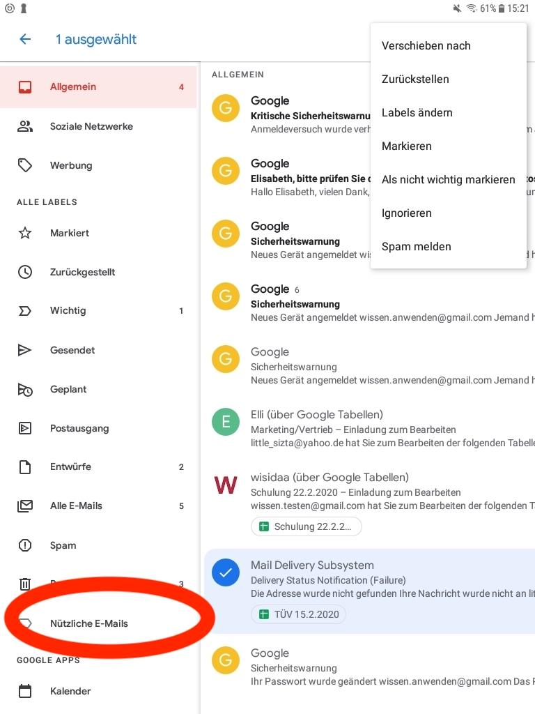 Smartphone Gmail Label Ordner anzeigen