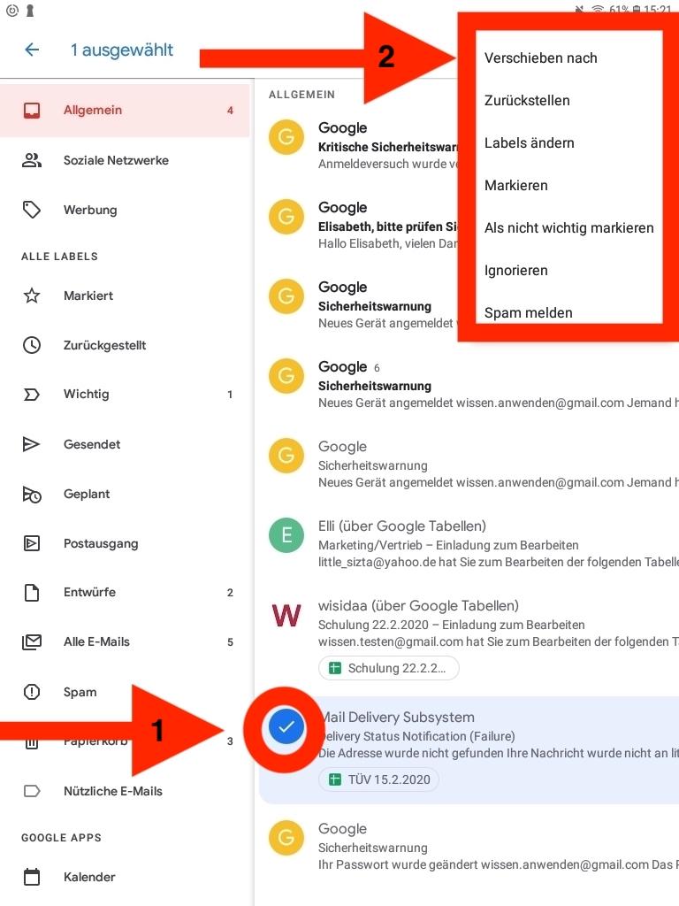 Smartphone Tablet Ansicht Auswahl einzelner E-Mails