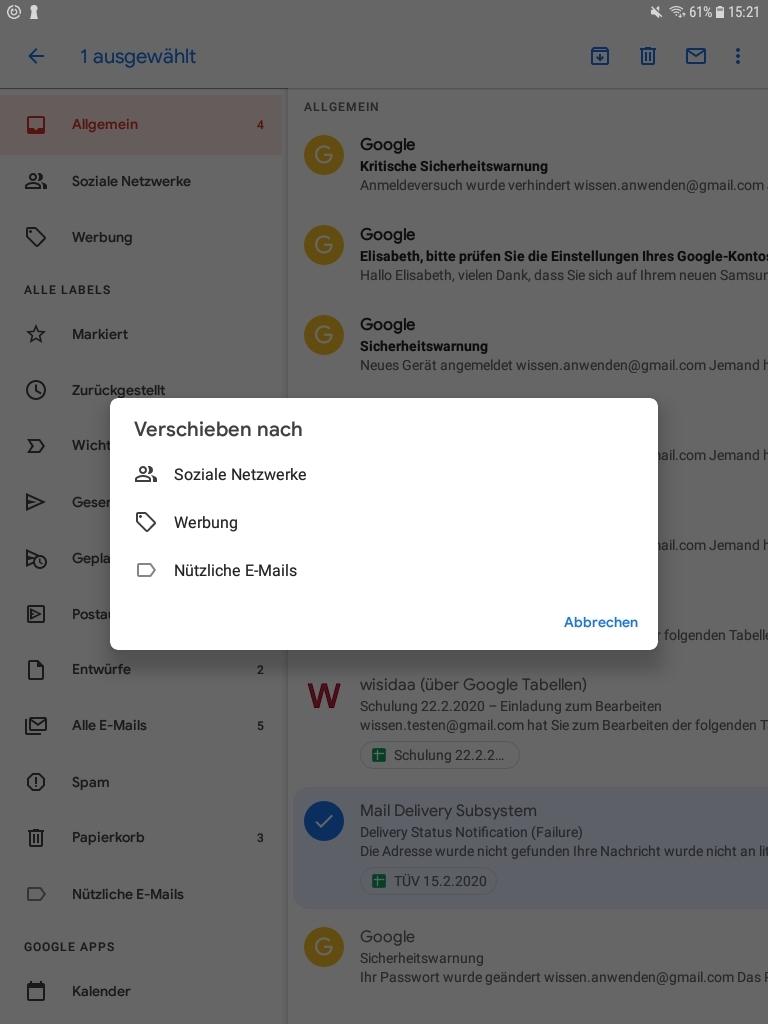 E-Mail verschieben nach - Anleitung zu welchem Label/Ordner