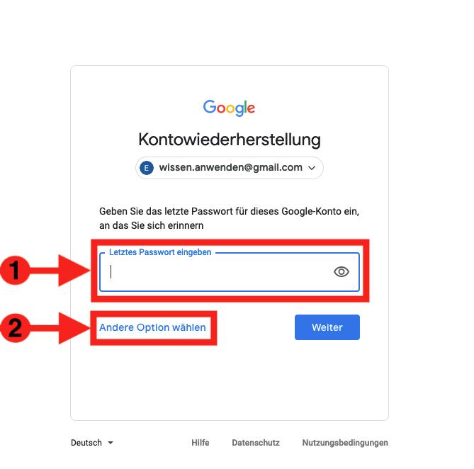 Google Passwort vergessen wiederherstellen