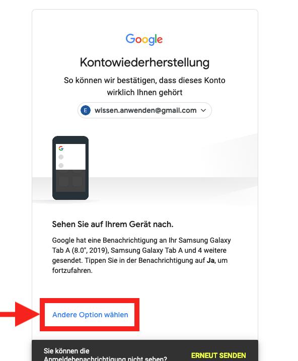 Google Konto Passwort vergessen an Smartphone senden