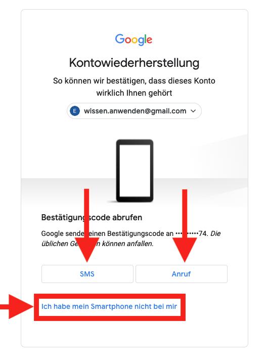 Google Konto Passwort vergessen SMS oder Anruf erhalten