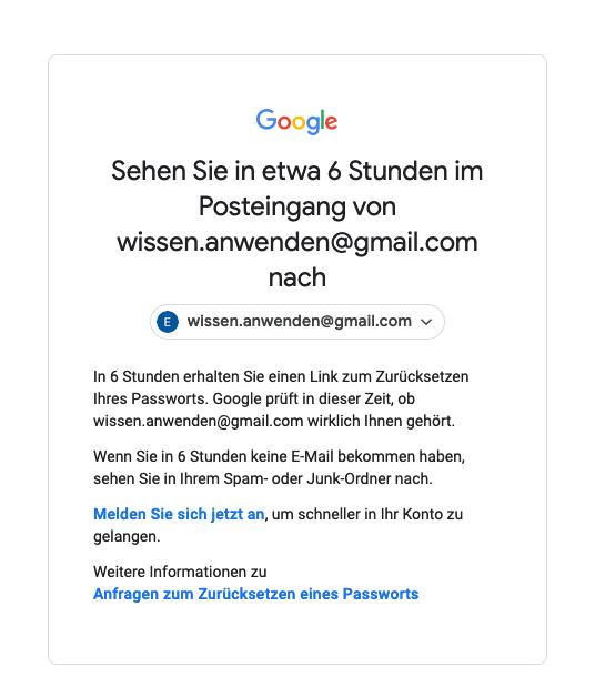 Google Konto Passwort vergessen E-Mail senden